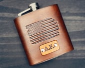 American Flag Leather Flask, Personalized, Gift for Dad, Birthday Gift for Husband, Brother, Mens, Hip Flask Groomsmen. USA United States