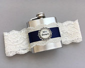 Navy Blue Ivory Wedding Garter with Flask, Blue Bridal Garter, Flask Garter, Something Blue Garter, Personalized Garter with Flask