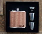 Personalized Flask Groomsmen Gifts Wood Wrapped Stainless Steel Flask Gift Set wedding, groom, groomsman, bachelor party, stag party