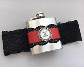 FLASK GARTER, Wedding Garter with Personalized Flask, Black Scarlet Red, Custom Flask with Bridal Garter, Wedding Garter, Lace Garter
