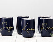 Stainless Steel Wine Tumbler Personalized Wine Tumbler Stemless Wine Cup Tumbler With Lid Wedding Tumbler Maid of Honor Best Gifts for Her