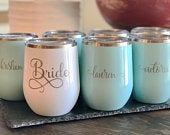 Set of 7 Custom Engraved Stemless Stainless Steel Wine Glasses for Bridesmaids Wedding Gift Bachelorette and Bridal Party Gifts Engraved
