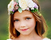 Spring Flower girl crown, Flower hair wreath, Wedding flower crown, Floral crown, Flower halo, Bohemian wedding flower crown,Flower Headband