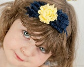 Yellow Navy Blue Flower Soft Chiffon Headband. Preemie Wedding Flower Girl Petite