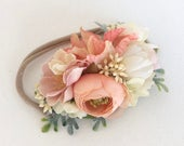 Peach flower crown Headband Baby girl headbands baby headband Flower Crown Headband