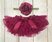 Baby Girl Tutu Bloomers Flower Girl Wine Burgundy Maroon Tutu Bloomers Headband Gold Glitter Newborn Photos Cake Smash