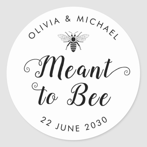 Meant to Bee Wedding Honey Pot Jar Favor Label
