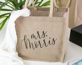 Personalized Burlap Tote Bag Beach Canvas Tote Bridal Party Beach Bags, Custom Wedding Totes, Maid of Honor Custom Tote Bags, BTB06BR