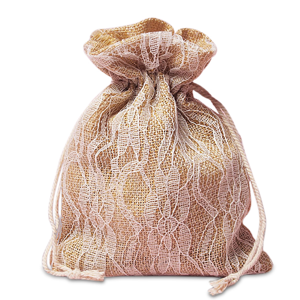 "Ivory Lace Burlap Bags - 5"" X 6-1/2"" - Fabric Bags by Paper Mart"