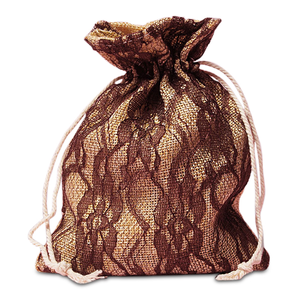 "Brown Lace Burlap Bags - 5"" X 6-1/2"" - Fabric Bags by Paper Mart"