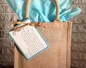 Burlap Jute Tote Bags with Handles, Lined, Wedding Welcome Bags 9x11x4 Free Shipping