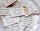 50 A Perfect Match Personalized Matches 1.20 each, Custom Wedding Favor, Personalized Wedding Matches, Bar Matches, Foil Printed Matches