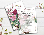 Floral Save the Date card, Boho Save the date, Save the date templates, Save the date for wedding, Unique save the date cards, Double sided