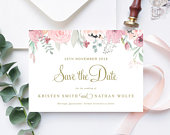 Pink Floral Save The Date, Wedding Save the Date Template, Instant Download, Edit Yourself, Pink and Gold Wedding, Kristen