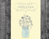 Mason Jar with Flowers Save the Date