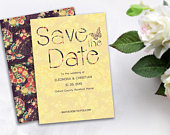 Japanese floral save the date, Unique, creative wedding invitations, kimono pattern wedding invitation, Asian styled, Double sided invites