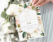 Floral Save the Date Invitation Template, Blush Wedding Date Card, INSTANT DOWNLOAD, 100% Editable Invite
