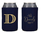 Wedding Can Cooler Custom Wedding Favor Can Coolers, Monogrammed Can Holders, Personalized Coozies Cheers, Wedding party favor KWE109