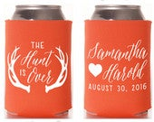 The Hunt is Over Wedding Can Cooler 16 Personalized and Custom Antlers Bridal Wedding Favors, Beverage Insulators, Beer Huggers