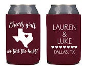 Wedding Can Cooler Custom Wedding Favor Can Coolers, Personalized Can Holders, Personalized State Wedding Favor KWE16