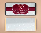 Large Personalized Christmas Hersheys Chocolate Wrappers 6 Candy Bar Wrappers Large Candy Wrappers Snowflakes and Candy Canes