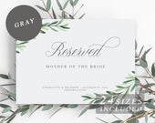 Greenery Reserved Sign, Printable Wedding Reserved Signs, Row Reserved Card, Wedding Ceremony Reserved Seating Template INSTANT DOWNLOAD