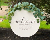 Round Wedding Welcome Sign, Custom Circle Wood Wedding Sign, Ceremony Entrance Sign