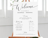 Program Sign INSTANT DOWNLOAD Order of Service Editable PDF, Welcome to Our Wedding Sign, Bridal Party Sign Ceremony, Program wb