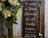 A Cord of Three Strands Is Not Easily Broken Ecclesiastes 4, Christ, Unity Knot, Braid, Alternate Ceremony, Wood Sign, Uses RING (Read Why!)