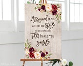 Assigned Seats Sign, Assigned Seats Are Not Our Style So Sit Anywhere That Makes You Smile, Rustic Wedding Signs Printable, Marsala, W331