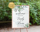 Greenery Welcome Sign Wedding Printable Welcome Wedding Sign Wedding Signs Wedding Ceremony Sign Personalized Instant Download wd03