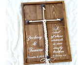 A Cord of Three Strands Is Not Easily Broken wood framed cross sign, Unity ceremony alternative, Wedding rope ceremony