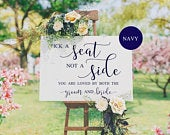 Choose A Seat Not A Side Navy, Pick A Seat Sign, Wedding Seat Sign, Wedding Ceremony Seating Sign, You Are Loved By Both, Wedding Welcome