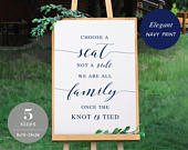 Navy Choose a Seat not a Side Sign Template, Printable Choose a Seat Sign, Welcome Wedding Sign, TEMPLETT, PDF Jpeg Download SPP008css