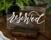 Acrylic Wedding Reserved Signs with Stands, White Black Lettering, Acrylic Reserved Signs, Reserved Seating, Modern Wedding, A21 QS