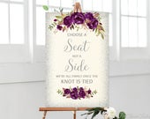Eggplant Choose a Seat not a Side Sign, Pick a Seat Ceremony Sign, Ivory Wedding Sign, Cream and Silver Wedding Signs, Ivory, Silver, W767