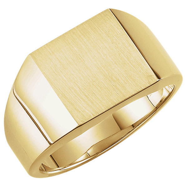 Men's Solid Engravable Signet Ring in 10K or 14K Gold