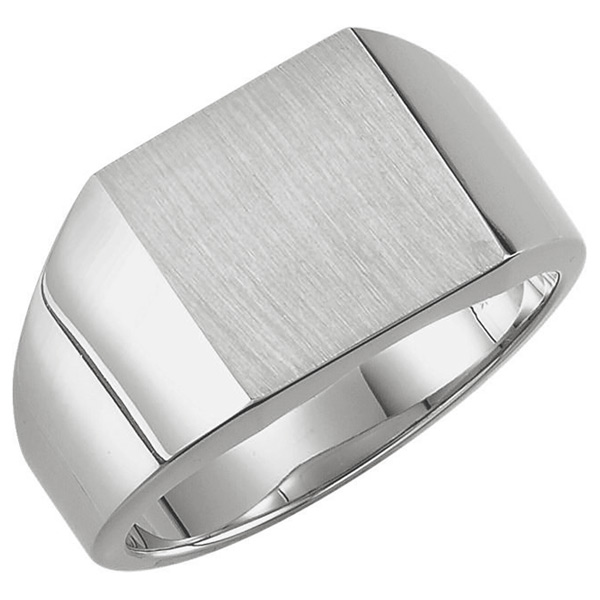 Men's Solid 14K White Gold Engravable Signet Ring