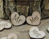 Mr and Mrs Wood Hearts, Wood Confetti Engraved Love Hearts Rustic Wedding Decor Table Decorations Tiny Wooden Hearts