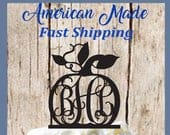 Pumpkin with 3 Letter Monogram Silhouette Wedding Cake Topper ... Made in USA ... Ships from USA