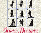 Silhouette Couples with Pet Options Wedding Cake Topper MADE in the USA