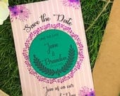 Save The Date Magnet, Peacock Wedding, Teal and Purple, Circle Magnet, Luxury Wedding Favor, Luxury Wedding Invitation, Classy Save the Date