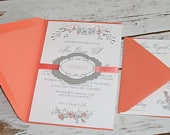 Shabby Chic Floral Wedding Invitation Suite in Coral Pink Grey: Modern Vintage Rustic Shabby Chic Invite, Cottage Chic Wedding Invites