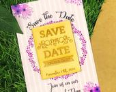 Geometric Wedding, Floral Save The Dates, Wood Magnet, Personalized Save the Date, Amazing Save the Date, Wood Magnet, Wood Invites