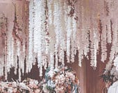 3ft White Wisteria Garland x3. Faux Flower Vine Decoration. For Outdoor Beach Wedding, Bridal Shower, Ceiling Ceremony Aisle Pew Decor