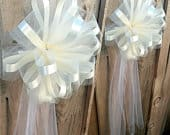 Large Assembled Ivory Wedding Pew Bows Church Decorations 10 Wide, Set of 6