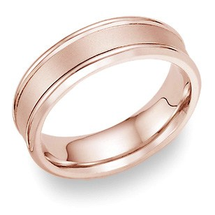 14K Rose Gold Wedding Band with Brushed Center