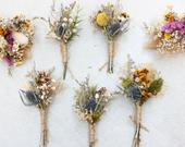 Assorted Thistle Boutonnieres / Rustic Dried flowers boutonniere / Real Lavender Buttonhole / Babies breath dried flowers mini bouquet
