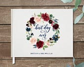 Wedding Guest Book, Custom Guest Book, Personalized Guest Book botanical floral rustic boho watercolor greenery bouquet flowers Grace