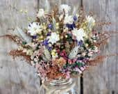 COUNTRY GIRL Dry Flower Bouquet Fall Rustic Wedding Bouquet Bridal Bouquet Bridesmaid Bouquet Fall Colors with a Splash of Purple